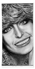 Beach Towel featuring the drawing Farrah Fawcett In 1976 by J McCombie