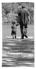 Father And Son Black White Beach Sheet