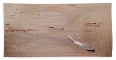 Feather On Sand Beach Towel