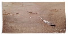 Feather On Sand Beach Sheet by Cindy Garber Iverson