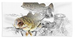 Feeding Largemouth Black Bass Beach Sheet by Randall Nyhof