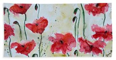 Beach Sheet featuring the painting Feel The Summer 1 - Poppies by Ismeta Gruenwald