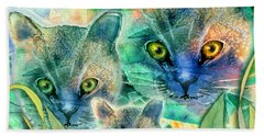 Beach Sheet featuring the painting Feline Family by Teresa Ascone