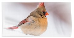 Female Northern Cardinal Beach Towel