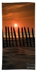 Fence At Sunset Beach Towel