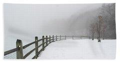 Fence In Fog Beach Sheet