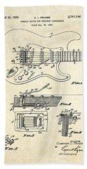 1956 Fender Tremolo Patent Drawing I Beach Towel