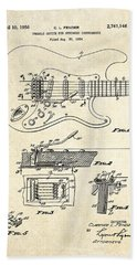 1956 Fender Tremolo Patent Drawing I Beach Sheet by Gary Bodnar