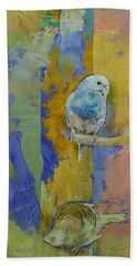 Feng Shui Parakeets Beach Sheet by Michael Creese