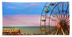 Ocean City New Jersey Ferris Wheel And Music Pier Beach Towel