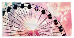 Ferris Wheel In Pink And Blue Beach Towel