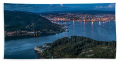 Ferrol's Estuary Panorama From La Bailadora Galicia Spain Beach Towel by Pablo Avanzini