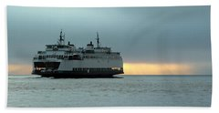 Ferry Sealth In The Fog Beach Towel by E Faithe Lester