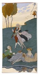 Fetes Galantes Beach Sheet by Georges Barbier