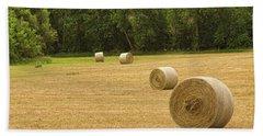 Field Of Freshly Baled Round Hay Bales Beach Towel