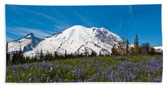 Field Of Lupines And Rainier Beach Towel