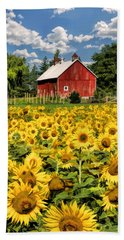 Field Of Sunflowers Beach Towel by Christopher Arndt