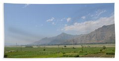 Beach Sheet featuring the photograph Fields Mountains Sky And A River Swat Valley Pakistan by Imran Ahmed