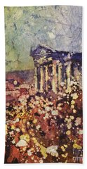 Fields Of Flower- And Roman Temple Beach Towel