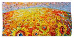 Fields Of Gold - Abstract Landscape With Sunflowers In Sunrise Beach Towel by Ana Maria Edulescu
