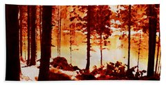 Fiery Red Landscape Beach Sheet