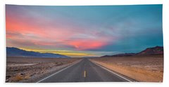 Fiery Road Though The Valley Of Death Beach Towel