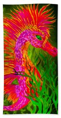 Beach Towel featuring the painting Fiery Sea Horse by Adria Trail