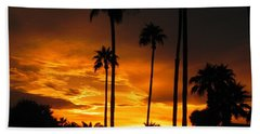 Beach Towel featuring the photograph Fiery Sunset by Deb Halloran