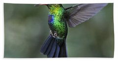 Fiery-throated Hummingbird..  Beach Towel