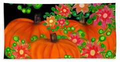 Fiesta Pumpkins Beach Towel by Christine Fournier