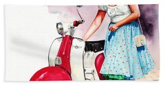 Beach Towel featuring the painting Fifties Lambretta Girl by Peter Williams
