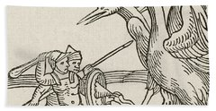 Fight Between Pygmies And Cranes. A Story From Greek Mythology Beach Towel by English School