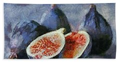 Beach Towel featuring the painting Figs by Dragica  Micki Fortuna
