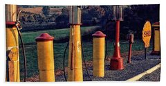 Fill 'er Up Vintage Fuel Gas Pumps Beach Towel