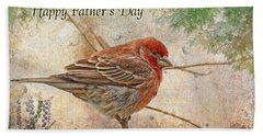 Finch Greeting Card Father's Day Beach Towel by Debbie Portwood