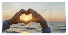 Fingers Heart Framing Ocean Sunset Beach Towel
