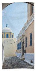 Fira Catholic Cathedral 06 Beach Towel
