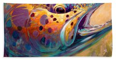 Fire From Water - Rainbow Trout Contemporary Art Beach Towel by Savlen Art