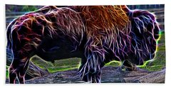 Fire Of A Bison  Beach Towel by Miroslava Jurcik