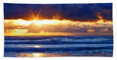 Fire On The Horizon Beach Towel