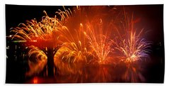 Fire On The Water Beach Towel