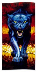 Fire Panther Beach Towel by MGL Studio - Chris Hiett