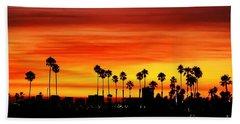 Beach Sheet featuring the photograph Fire Sunset In Long Beach by Mariola Bitner