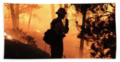 Beach Towel featuring the photograph Firefighter At Night On The White Draw Fire by Bill Gabbert