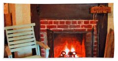 The Family Hearth - Fireplace Old Rocking Chair Beach Towel