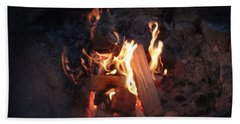 Beach Towel featuring the photograph Fireside Seat by Michael Porchik