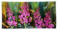 Fireweed And Dragonflies Beach Sheet by Teresa Ascone