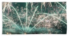 Fireworks And Aircraft Beach Towel