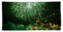Beach Sheet featuring the photograph Fireworks Hdr by Antonio Scarpi