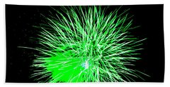 Beach Towel featuring the photograph Fireworks In Green by Michael Porchik
